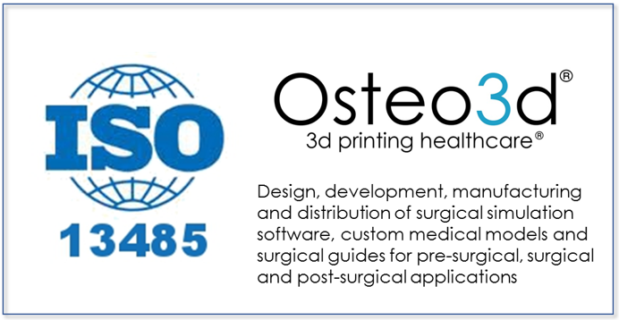 Osteo3d ISO 13485 Certified.